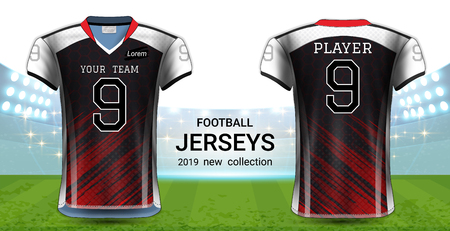 American Football or Soccer Jerseys Uniforms, T-Shirt Sport Mockup Template Front and Back View for Presentation, Fully Customize and Everything is Edible, Resizable and Color Change. (Eps10 Vector)