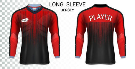 Long sleeve soccer jerseys, T-Shirt sport mockup template, Realistic graphic design for Football Uniform, Goalkeeper, Motocross, Unisex Cycling, etc, Easily to change logo, name, color in your styles.