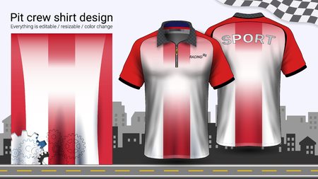 Polo t-shirt with zipper, Racing uniforms mockup template for Active wear and Sports clothing, such as, Racing apparel, Karting, Pit crew, Mechanic overalls, Everything is editable and Color change. Stockfoto - 116413150