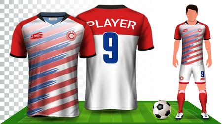 Modello di presentazione uniforme di maglia da calcio, maglia sportiva o kit da calcio, vista anteriore e posteriore inclusi pantaloncini e calzini ed è completamente personalizzabile isolato su sfondo trasparente.