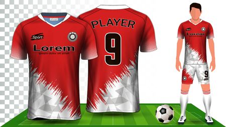 Soccer Jersey, Sport Shirt or Football Kit Uniform Presentation Mockup Template, Front and Back View Including Shorts and Socks and it is Fully Customisable Isolated on Transparent Background.