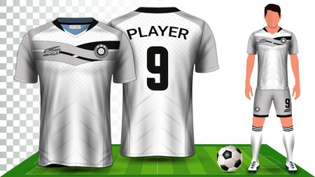 Soccer Jersey, Sport Shirt or Football Kit Uniform Presentation Mockup Template, Front and Back View Including Shorts and Socks and it is Fully Customisable