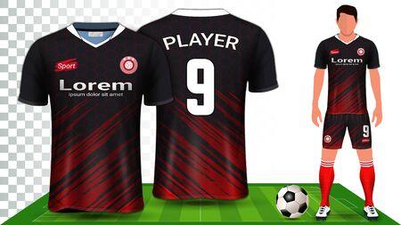 Szablon prezentacji koszulki piłkarskiej, koszulki sportowej lub munduru piłkarskiego, widok z przodu i z tyłu, w tym spodenki i skarpetki, i jest w pełni konfigurowalny