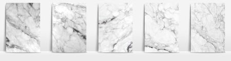 Marble collection abstract pattern texture white and grey background. Imagens
