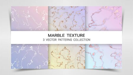 Pastel Marble Texture, Premium Set of Vector Patterns Collection, Abstract Background Template, Suitable for Luxury Products Brands with Golden Foil and Linear Style