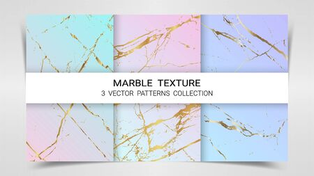 Pastel Marble Texture, Premium Set of Vector Patterns Collection, Abstract Background Template, Suitable for Luxury Products Brands with Golden Foil and Linear Style Imagens - 127649835