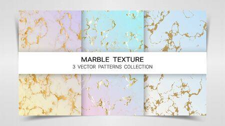 Pastel Marble Texture, Premium Set of Vector Patterns Collection, Abstract Background Template, Suitable for Luxury Products Brands with Golden Foil and Linear Style Imagens - 127649839