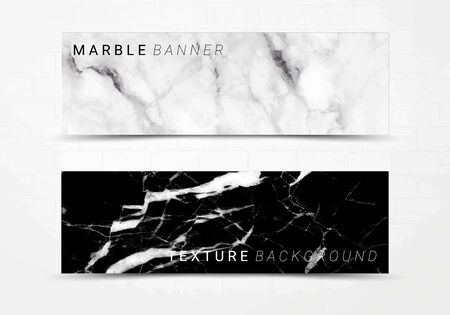 Banner template of black and white marble texture background, with lots of bold contrasting veining and linear style, Suitable for luxury products Imagens - 127649986