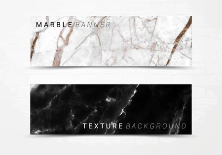 Banner template of black and white marble texture background, with lots of bold contrasting veining and linear style, Suitable for luxury products Imagens - 127650007