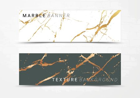 Banner template of black and white marble texture background, with golden foil and linear style Ilustração