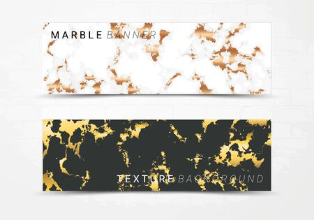 Banner template of black and white marble texture background, with golden foil and linear style, Suitable for luxury products Imagens - 127650097