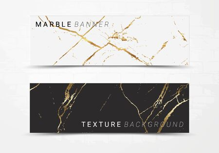 Banner template of black and white marble texture background, with golden foil and linear style, Suitable for luxury products Imagens - 127650131