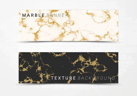 Banner template of black and white marble texture background, with golden foil and linear style, Suitable for luxury products Illustration
