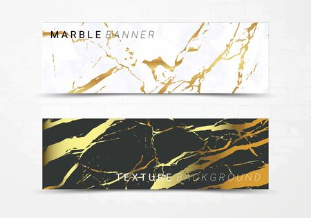 Banner template of black and white marble texture background, with golden foil and linear style, Suitable for luxury products Imagens - 127650182