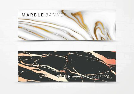 Banner template of black and white marble texture background, with golden foil and linear style, Suitable for luxury products Ilustração