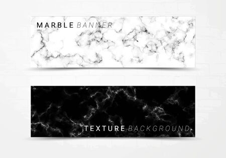 Banner template of black and white marble texture background, with lots of bold contrasting veining and linear style, Suitable for luxury products Imagens - 127650213