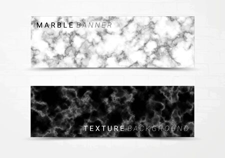 Banner template of black and white marble texture background, with lots of bold contrasting veining and linear style, Suitable for luxury products Imagens - 127650258