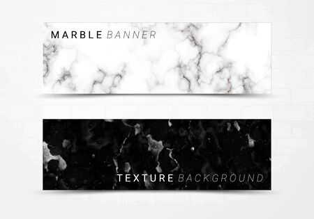Banner template of black and white marble texture background, with lots of bold contrasting veining and linear style, Suitable for luxury products Imagens - 127650305
