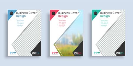 Poster cover book design template in A4 layout with space for photo background, 3 Color ways included, Use for annual report, proposal, portfolio, brochure, flyer, leaflet, catalog, magazine, booklet. Imagens - 128694892