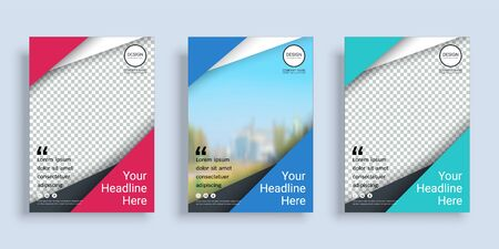 Poster cover book design template in A4 layout with space for photo background, 3 Color ways included, Use for annual report, proposal, portfolio, brochure, flyer, leaflet, catalog, magazine, booklet. Imagens - 128694895