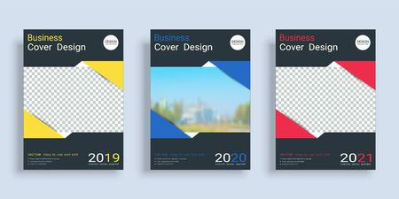 Poster cover book design template in A4 layout with space for photo background, 3 Color ways included, Use for annual report, proposal, portfolio, brochure, flyer, leaflet, catalog, magazine, booklet. Imagens - 128694902