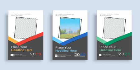 Poster cover book design template in A4 layout with space for photo background, 3 Color ways included, Use for annual report, proposal, portfolio, brochure, flyer, leaflet, catalog, magazine, booklet. Imagens - 128694920