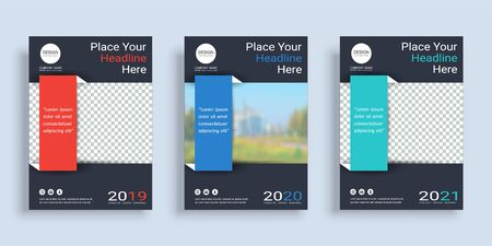 Poster cover book design template in A4 layout with space for photo background, 3 Color ways included, Use for annual report, proposal, portfolio, brochure, flyer, leaflet, catalog, magazine, booklet. Иллюстрация