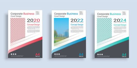 Poster cover book design template in A4 layout with space for photo background, 3 Color ways included, Use for annual report, proposal, portfolio, brochure, flyer, leaflet, catalog, magazine, booklet. Ilustração