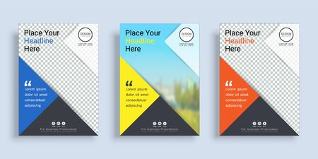 Poster cover book design template in A4 layout with space for photo background, 3 Color ways included, Use for annual report, proposal, portfolio, brochure, flyer, leaflet, catalog, magazine, booklet. Imagens - 128695124