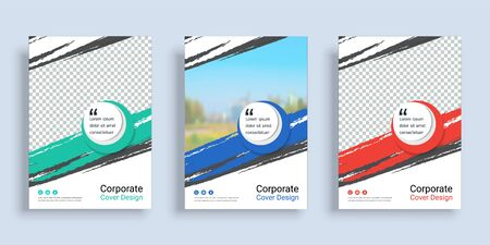 Poster cover book design template in A4 layout with space for photo background, 3 Color ways included, Use for annual report, proposal, portfolio, brochure, flyer, leaflet, catalog, magazine, booklet. Imagens - 128695123