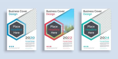 Poster cover book design template in A4 layout with space for photo background, 3 Color ways included, Use for annual report, proposal, portfolio, brochure, flyer, leaflet, catalog, magazine, booklet. Imagens - 128695137