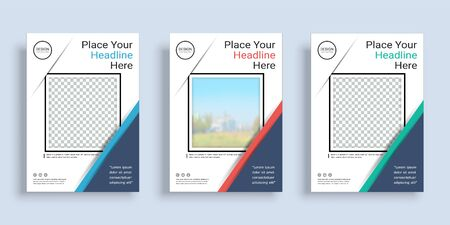 Poster cover book design template in A4 layout with space for photo background, 3 Color ways included, Use for annual report, proposal, portfolio, brochure, flyer, leaflet, catalog, magazine, booklet. Imagens - 128695132