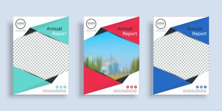 Poster cover book design template in A4 layout with space for photo background, 3 Color ways included, Use for annual report, proposal, portfolio, brochure, flyer, leaflet, catalog, magazine, booklet. Imagens - 128695130