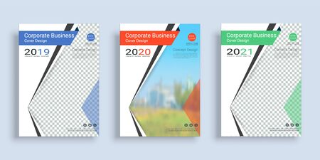 Poster cover book design template in A4 layout with space for photo background, 3 Color ways included, Use for annual report, proposal, portfolio, brochure, flyer, leaflet, catalog, magazine, booklet. Imagens - 128695143