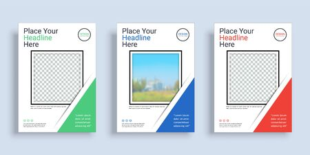 Poster cover book design template in A4 layout with space for photo background, 3 Color ways included, Use for annual report, proposal, portfolio, brochure, flyer, leaflet, catalog, magazine, booklet. Illustration