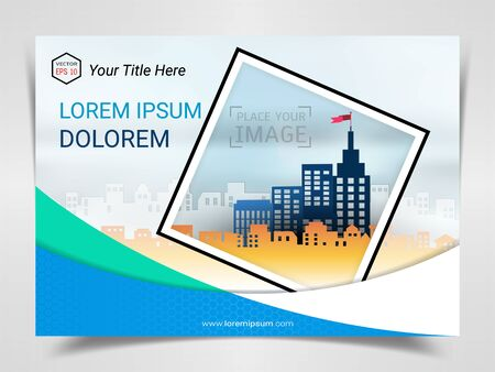 Print Advertising Ready Template, A4 Size Design for Company Marketing Presentation Layout and Covers Design with Space for Your Photo Background, Use for Flyer, Leaflet, Brochure, Catalog Maxazine. Imagens - 128695268