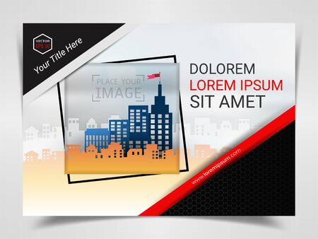 Print Advertising Ready Template, A4 Size Design for Company Marketing Presentation Layout and Covers Design with Space for Your Photo Background, Use for Flyer, Leaflet, Brochure, Catalog Maxazine.