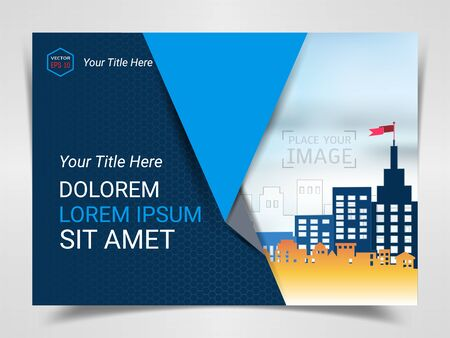 Print Advertising Ready Template, A4 Size Design for Company Marketing Presentation Layout and Covers Design with Space for Your Photo Background, Use for Flyer, Leaflet, Brochure, Catalog Maxazine. Imagens - 128695299