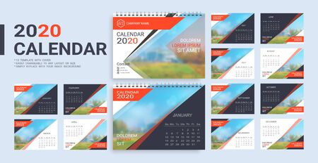 Desk Calendar 2020 template, 12 months and 13 template with cover included in A5 but easily to changeable to any layout or size and simply replace with your image background. Imagens - 128695318