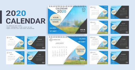Desk Calendar 2020 template, 12 months and 13 template with cover included in A5 but easily to changeable to any layout or size and simply replace with your image background. Imagens - 128695467