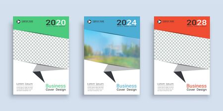 Poster cover book design template in A4 layout with space for photo background, 3 Color ways included, Use for annual report, proposal, portfolio, brochure, flyer, leaflet, catalog, magazine, booklet. 向量圖像