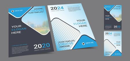 Poster cover book design template in A4 layout with space for photo background,