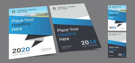 Poster cover book design template in A4 layout with space for photo background