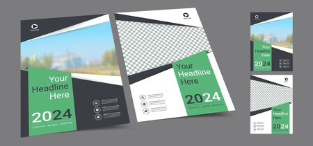 Poster cover book design template in A4 layout with space for photo background, Cmyk 2 tone color suitable for annual report, proposal, portfolio, brochure, flyer, leaflet, catalog, magazine, booklet.