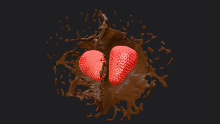 Two strawberries and chocolate splash, 3D Render process, 4k Ultra HD 3840x2160. Фото со стока