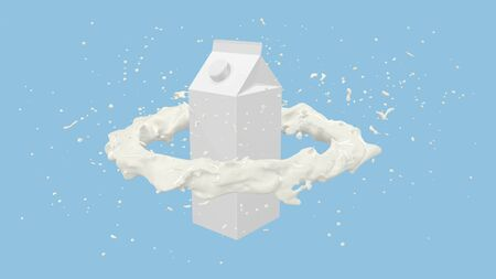 3D render of Milk carton box with Milk flow splashes, 4k Ultra HD 3840x2160.