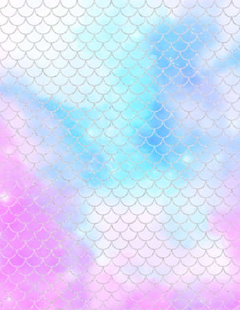 Mermaid scale digital paper, Colorful pastel watercolor texture covers set.