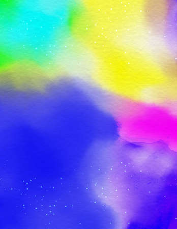 Abstract rainbow watercolor covers set, The color splashing on the paper. 写真素材