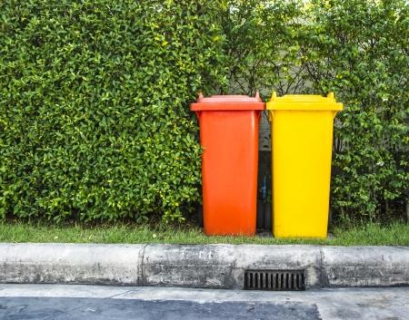 segregate: Trash cans  garbage bin  in the park
