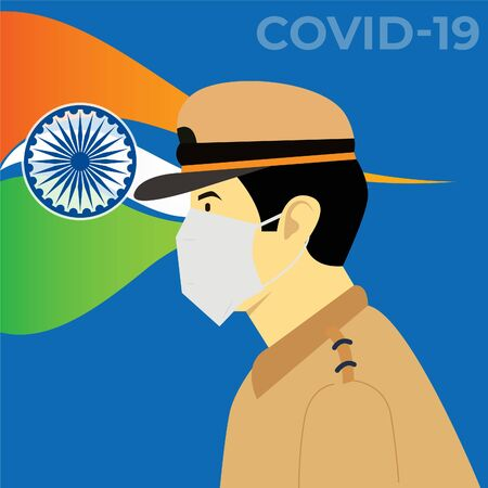 Police officer working hard to fight against coronavirus to protect the nation and people. Covid-19